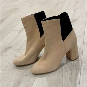 Dolce Vita Tan Suede Boots with Black Elastic